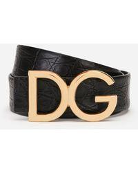 Dolce & Gabbana Gürtel Aus Nappa-Krokoflanken Mit Dg-Logo - Schwarz