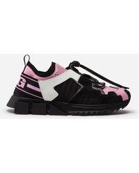 Dolce & Gabbana Sneakers Portofino En Cuir De Veau Nappa - Rose