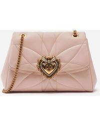 Dolce & Gabbana Large Devotion Shoulder Bag In Quilted Nappa Leather - Rosa