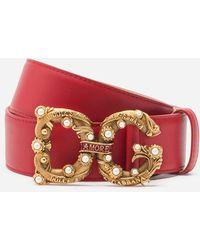 Dolce & Gabbana Calfskin Belt With Dg Amore Logo - Red