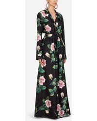 Dolce & Gabbana Overall Aus Twill Mit Tropischem Rosendruck - Mehrfarbig
