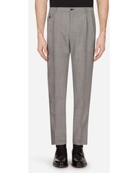 Dolce & Gabbana Micro-Patterned Mohair Wool Pants - Grigio