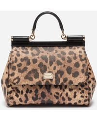 Dolce   Gabbana - Medium Sicily Bag In Leopard Textured Leather - Lyst ed3e3454202af