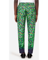 Dolce & Gabbana Silk Pajama Pants With Peacock Print - Green
