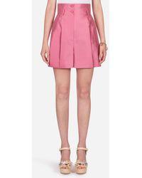 Dolce & Gabbana Shantung-Shorts Mit Hohem Bund - Pink
