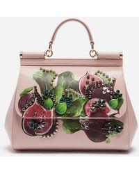 Dolce   Gabbana - Sicily Handbag In Printed Dauphine Calfskin - Lyst 164f8eaafbbde