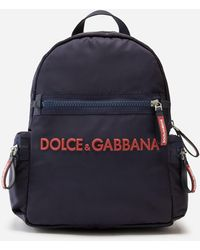 Dolce & Gabbana Nylon Backpack With Rubberized Logo - Blue