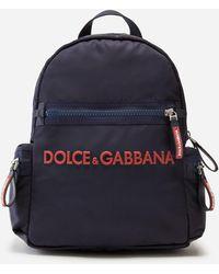 Dolce & Gabbana Nylon Backpack With Rubberized Logo - Blue