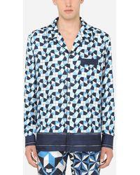 Dolce & Gabbana Silk Majolica-print Pyjama Shirt - Blue
