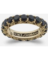 Dolce & Gabbana Sicily Ring In Yellow Gold And Black Sapphires - Metallic