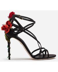 Dolce & Gabbana - Sandale Aus Satin Mit Stickerei - Lyst
