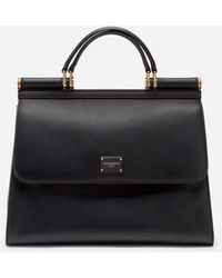 Dolce & Gabbana Grosse Sicily 58 Tasche Aus Kalbsleder - Schwarz