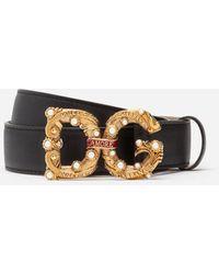 Dolce & Gabbana Calfskin Belt With Dg Amore Logo - Negro