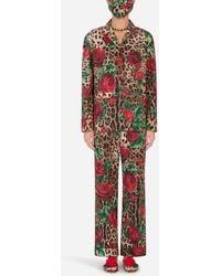 Dolce & Gabbana Rose-print Pajama Set With Matching Face Mask - Red