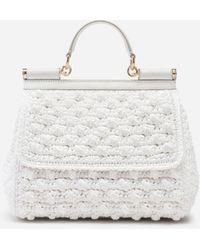Dolce & Gabbana Crocheted Medium Sicily Bag - White
