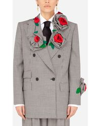 Dolce & Gabbana Masculine Double-Breasted Houndstooth Jacket With Embellishment - Grau