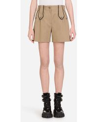 Dolce & Gabbana Drill Shorts With Military Details - Neutro