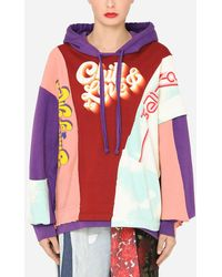 Dolce & Gabbana Patchwork Jersey Hoodie With Chill & Love Dg Print - Multicolor