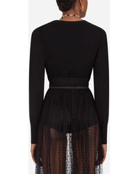 Dolce & Gabbana Cropped Cashmere Wrap Cardigan - Noir