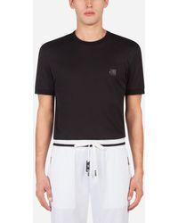 Dolce & Gabbana Cotton T-Shirt With Patch - Schwarz