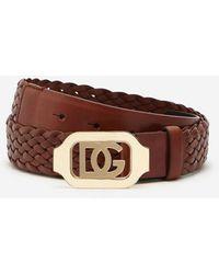 Dolce & Gabbana Woven Calfskin Belt With Crossover Dg Logo - Braun