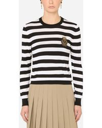 Dolce & Gabbana Striped Crew-Neck Sweater In Silk And Cashmere With Logo Detail - Blu