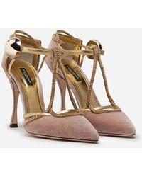Dolce & Gabbana Velvet T-straps Shoes With Decorative Button - Multicolor