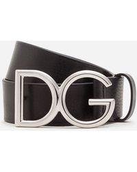 Dolce & Gabbana - Tumbled Leather Belt With Dg Logo - Lyst