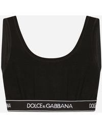Dolce & Gabbana Stretch Cotton Brassiere Top With Branded Stretch Band - Black