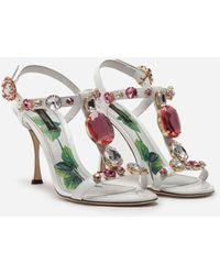 Dolce & Gabbana Sandalias T-Strap De Charol Con Piedras Bordadas - Blanco