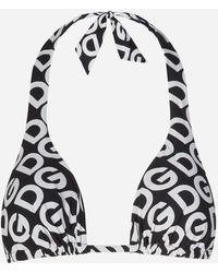 Dolce & Gabbana Triangel-Bikinitop Gepolstert Mit Dg-Logo-Print - Schwarz