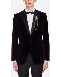 Dolce & Gabbana Velvet Martini-Fit Tuxedo Jacket - Blau