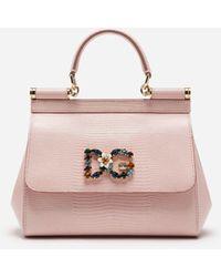 Dolce & Gabbana Kleine Tasche Sicily Aus Kalbsleder Mit Leguanprint Und Dg-Logo-Patch Mit Kristallen - Pink