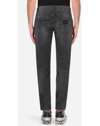 Dolce & Gabbana Gray Wash Skinny Stretch Jeans - Blau