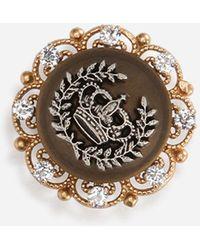 Dolce & Gabbana Clip-On Earrings With Rhinestones And Heraldic Logo - Metallizzato