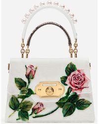 Dolce & Gabbana Borsa Welcome Media In Punto Velluto Tropical Rose - Bianco