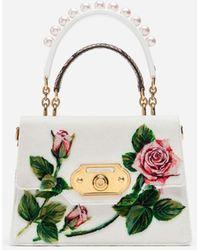 Dolce & Gabbana Bolso Mediano Welcome De Punto De Terciopelo Con Estampado De Rosas Tropicales - Blanco