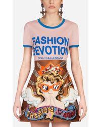 Dolce & Gabbana - Printed Cotton T-shirt - Lyst