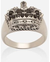 Dolce & Gabbana Crown White Gold Crown Ring - Weiß