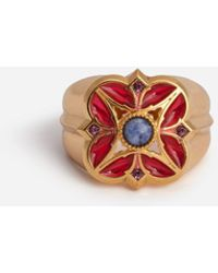 Dolce & Gabbana Metal Ring With Red Enamelled Flower - Rojo