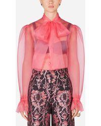 Dolce & Gabbana Organza Shirt With Bow - Pink