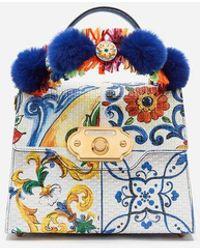 Dolce & Gabbana Bolso De Mano Welcome De Becerro Con Estampado Mayólica - Azul