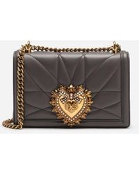 Dolce & Gabbana Large Devotion Bag In Quilted Nappa Leather - Gris