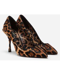 Dolce & Gabbana Leopard-Print Pony Hair Pumps - Marrón