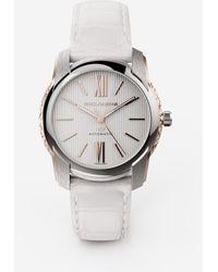 Dolce & Gabbana Dg7 Watch In Steel With Engraved Side Decoration In Gold - Weiß