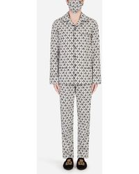 Dolce & Gabbana Dg-print Pajama Set With Matching Face Mask - Multicolor