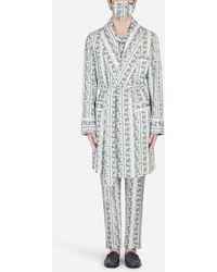 Dolce & Gabbana Morgenrock Mit Schutzmaske Blumenprint - Mehrfarbig