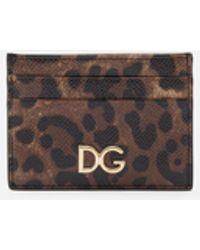 Dolce & Gabbana - Tarjetero De Becerro Dauphine Con Estampado Leopardo - Lyst