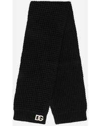 Dolce & Gabbana Basketweave-stitch Scarf With Dg Logo Patch - Black