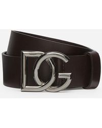 Dolce & Gabbana Leather Belt With Crossed Dg Logo - Multicolore